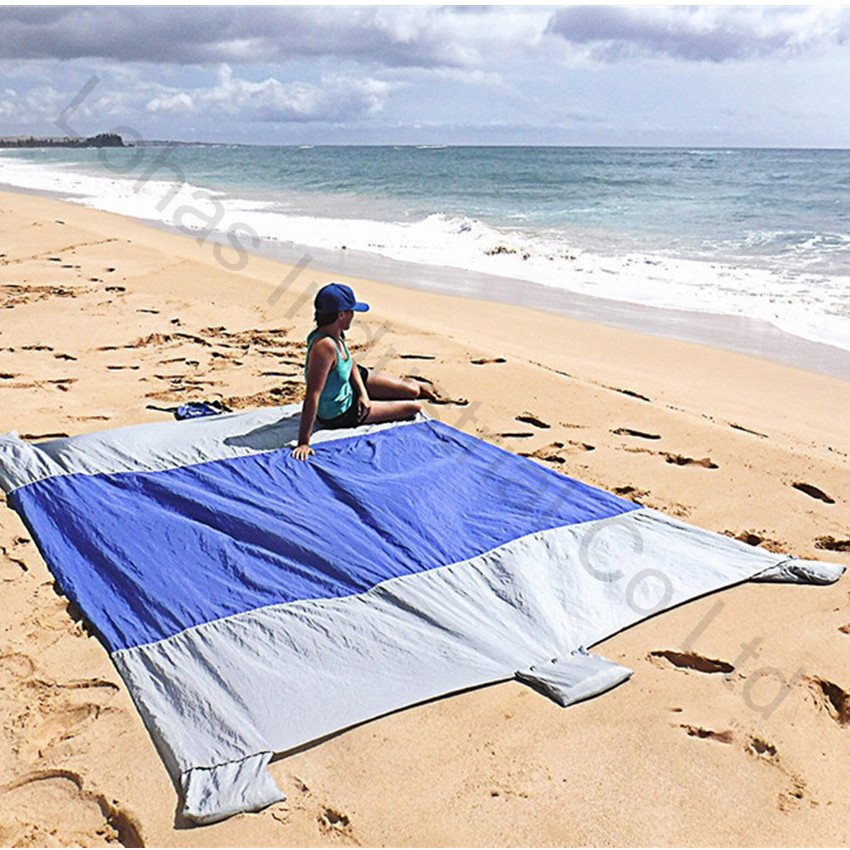 Big Sand Escape Compact Outdoor Camping sand free Beach Mat Nylon  Beach Blanket Picnic with Sand Anchors and Valuables Pocket llama llama sand and sun