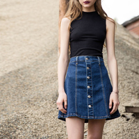 LYNETTE'S CHINOISERIE 2017 summer button denim skirt bust skirt single breasted high waist elastic a denim short skirt sheds