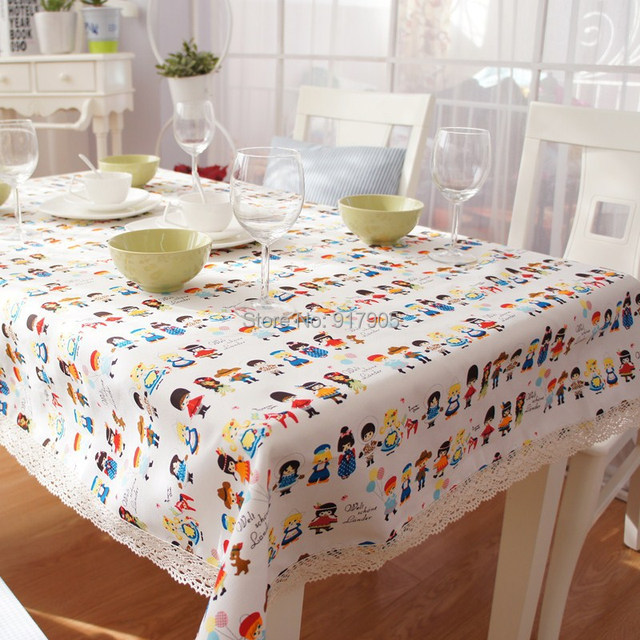 Free Shipping Cute Cartoon Kids Room Table Cover Modern Lace Tablecloth Overlays Elegant Dining Cloth