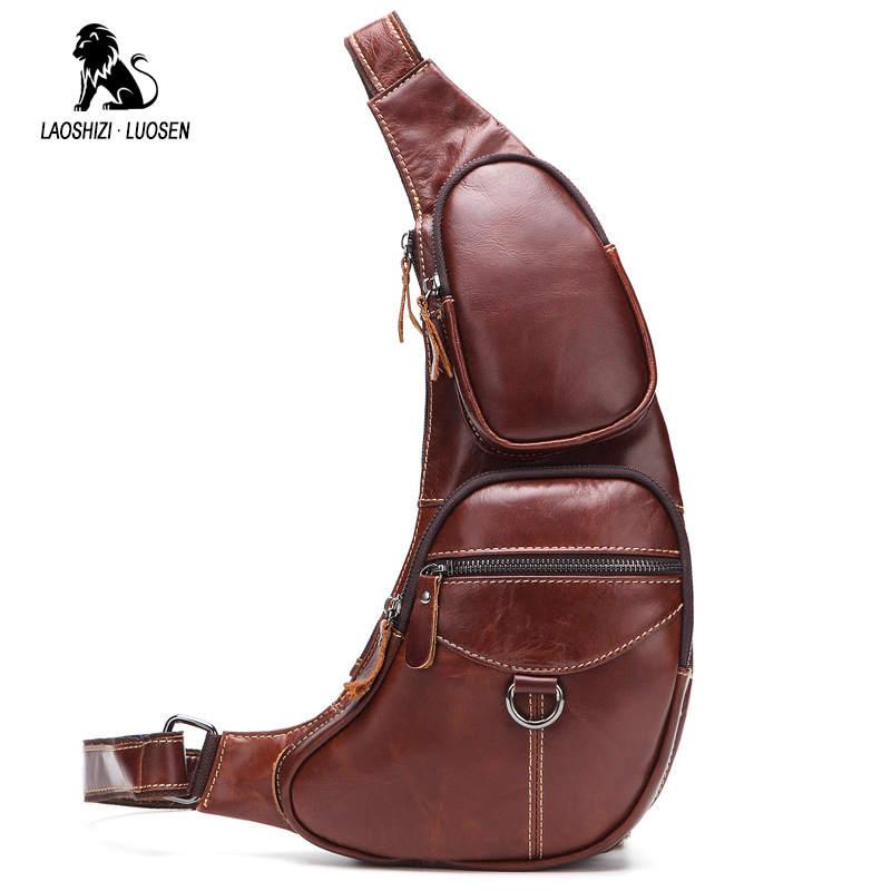 LAOSHIZI LUOSEN Crossbody Bags for Men Messenger Chest Bag Pack Fashion Genuine Leather Single Shoulder Strap Pack 2018 New