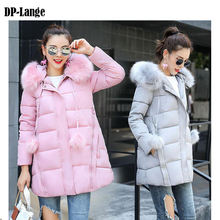 2017 Winter Jacket Women Faux Fur Collar Hooded Cotton Padded Winter Coat Women Parka Thick Warm Mid-Long Parkas