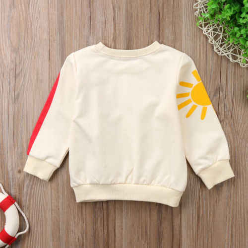 Pudcoco מגניב פעוט תינוק מעילי קשת שמש הדפסת חולצה סתיו בגדים ארוך שרוול מעילי מעילי עבור תינוק בנות