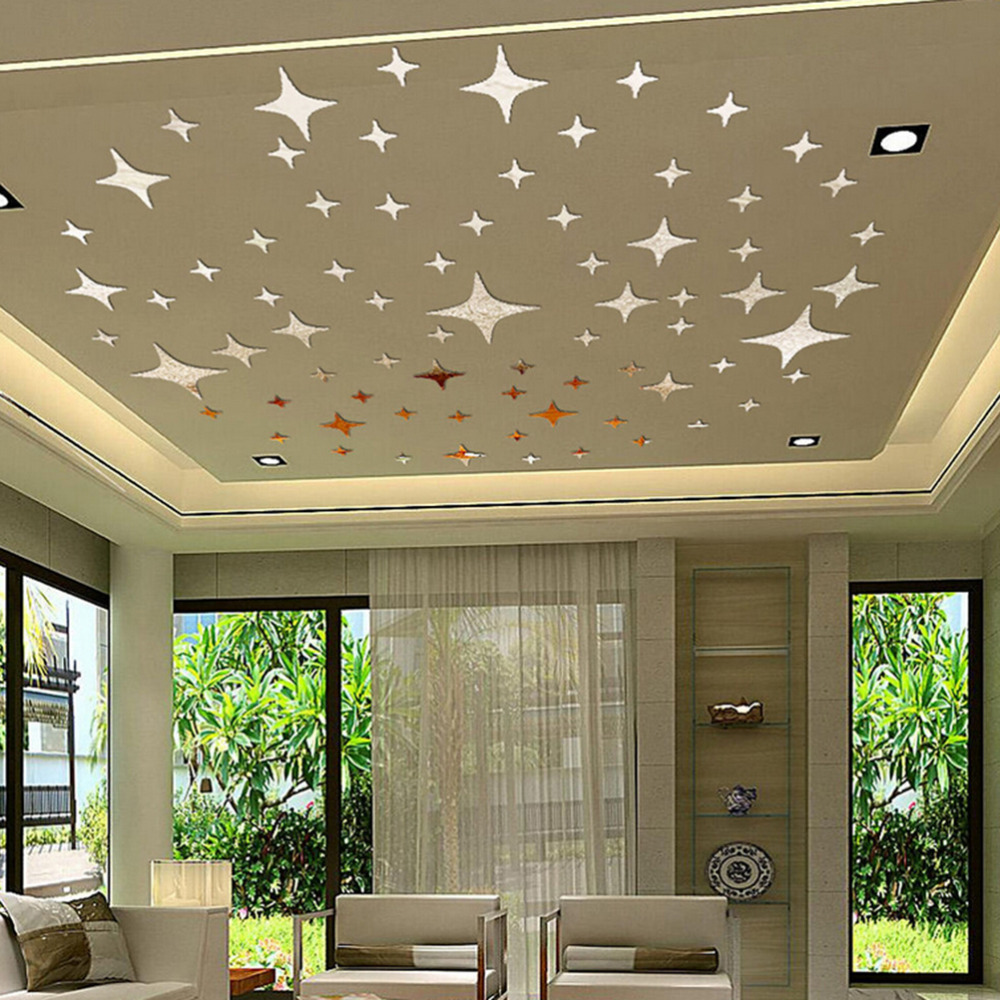 50pcs Twinkle Stars Ceiling Decor Crystal Reflective Diy Mirror Effect 3d Wall Stickers Bedroom Home Tv Background Decor 5 5cm Super Deal 16f92 Cicig