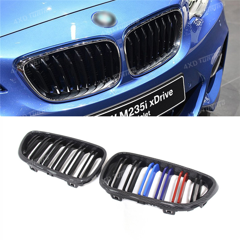 For BMW F22 F23 F87 M2 Carbon Fiber Front Grille 218i 220i 228i Replacement Grille M-sport Dual Slat Coupe & Convertible 2014-UP f22 performance carbon fiber spoiler f23 f87 m2 wing rear trunk lip for bmw 2 series 2014 2016 2 door coupe m235i 218i 220i