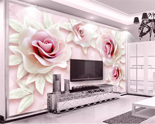 Custom wallpaper fresh and 3d embossed pink rose 3D TV background wall papel de parede papier peint photo