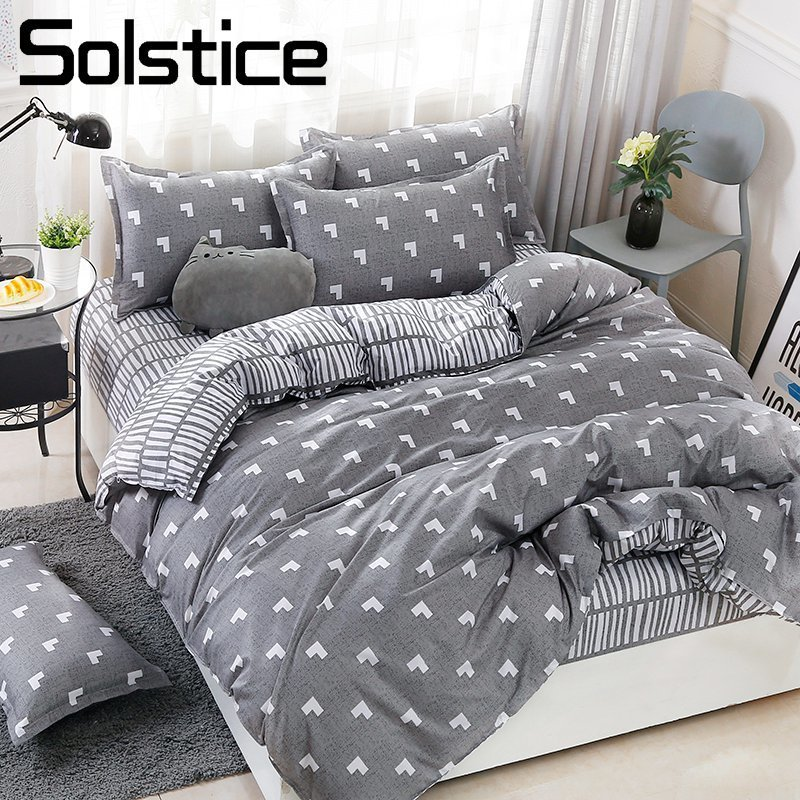 Solstice Bedding-Set Girl Pillowcase-Sheet Duvet-Cover Bed-Linen Geometric Home-Textile