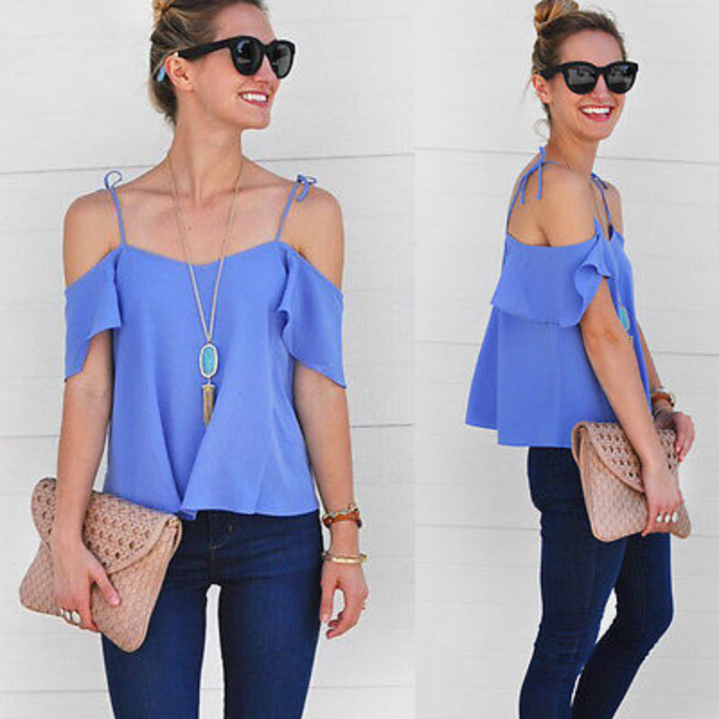 Fashion Women Summer Loose Top Off Shoulder Blouse Ladies Casual Tops