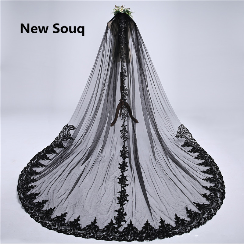 3M Long Black Wedding Veils Lace Applique Bridal Veil Wedding Accessories voile mariage veu de noiva One Layer Wedding Veil