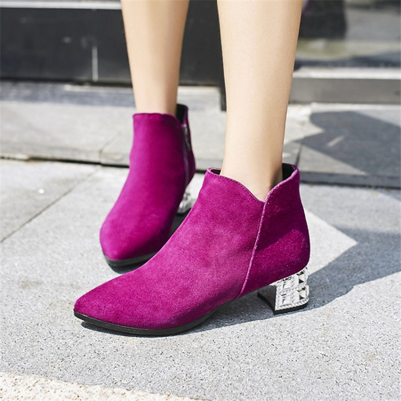2017 Autumn Winter Ankle Boots For Women Medium Heel Genuine Nubuck Leather Women's Fashion Short Martin Shoes Plus Size 34-43 bottes femmes 2017 autumn fashion martin boots leather shoes woman platform square medium heel ankle boots for women plus size