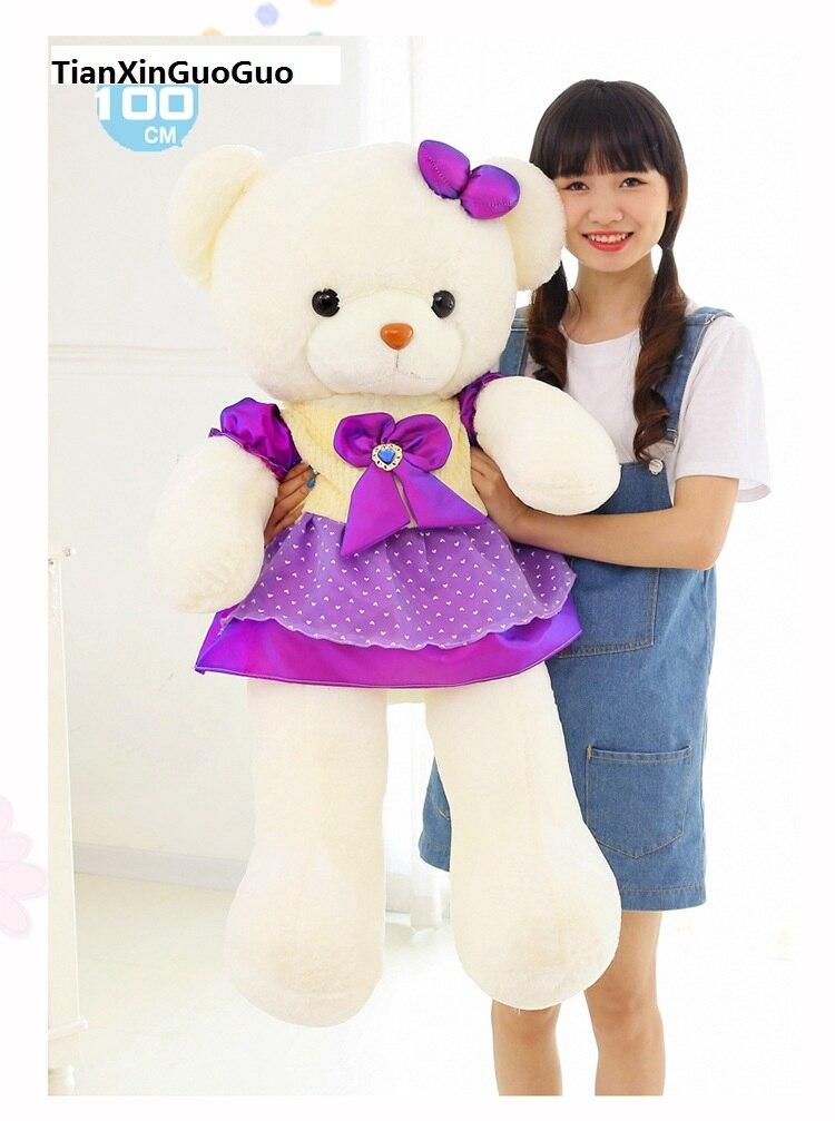 Énorme 130 cm dessin animé ours en peluche en peluche jupe pourpre ours blanc poupée douce, étreindre oreiller cadeau d'anniversaire h1282