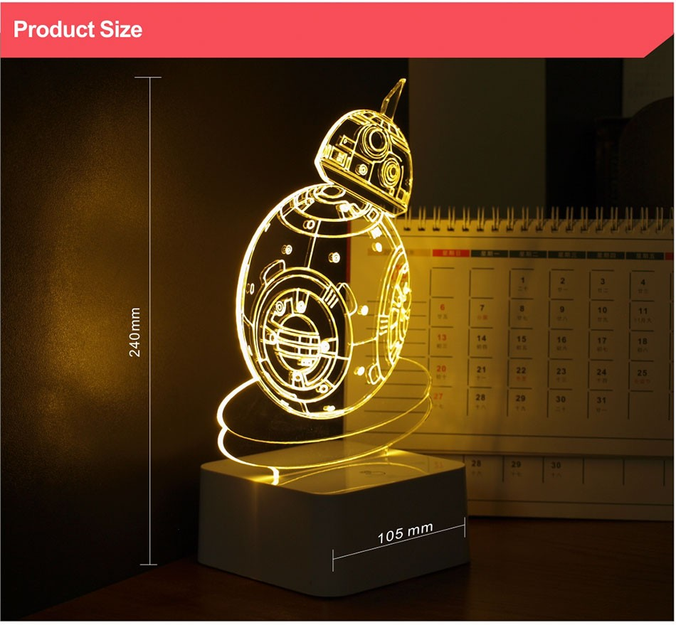 CNHIDEE USB Novelty 3D Visual Night Lights Star Wars Robort BB-8 Shaped Touch Table Desk Lamp Bubling Light as Creative Gifts (5)