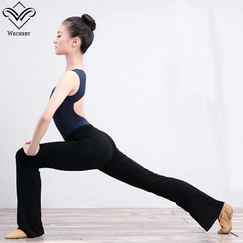 Wechery Balet Celana Ketat untuk Wanita Bell Bawah Panjang Elastis Celana Kapas Hitam Ungu Abu-abu Celana untuk Leotard Kebugaran Yoga Celana