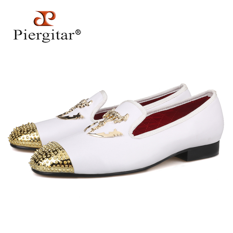 Piergitar 2018 New gold toe and Metal Skull buckle Men genuine leather shoes Men party and wedding Loafers handmade Men's Flats ovxuan metal skull buckle handmade men ankle shoes punk party dress loafers glitter bright sequins men flats casual rivets shoes