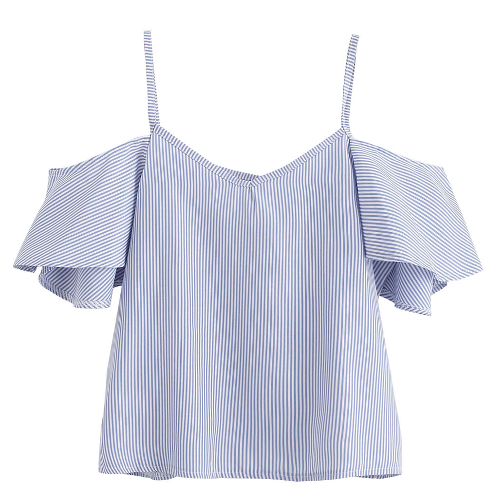 snowshine YLW  Women Summer Pinstripe Blouse Cold Shoulder Top free shipping