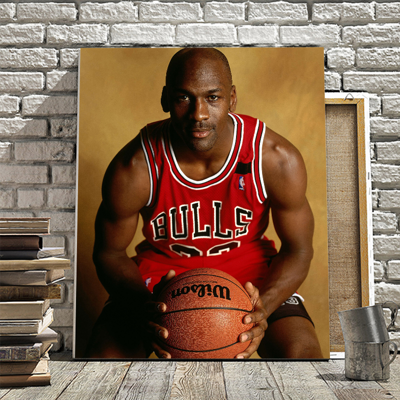 Basketball star Jordan World Cup player Dahua Wang DIY home decor painting restaurant hotel cafe decoration painting image