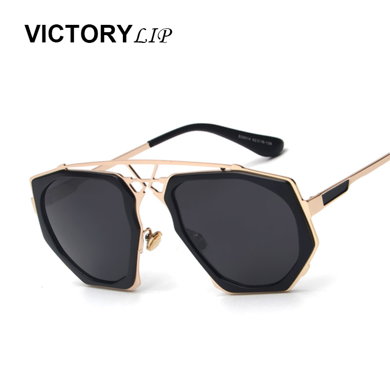 72ae4e45623 Victorylip Fashion Steampunk Hip Hop Sunglasses Women Luxury Brand Designer  Metal Frame Sun Glasses Vintage Oversized Big Size
