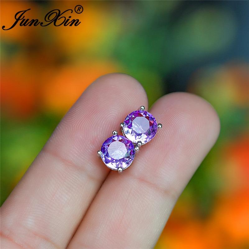 Mystical Crystal Round Stud Earrings For Women Silver Color Purple Yellow Pink Zircon Stone Rainbow Earrings Wedding Jewelry