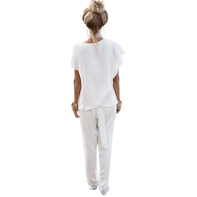 Short Sleeves White O-neck Chiffon Shirt For Women