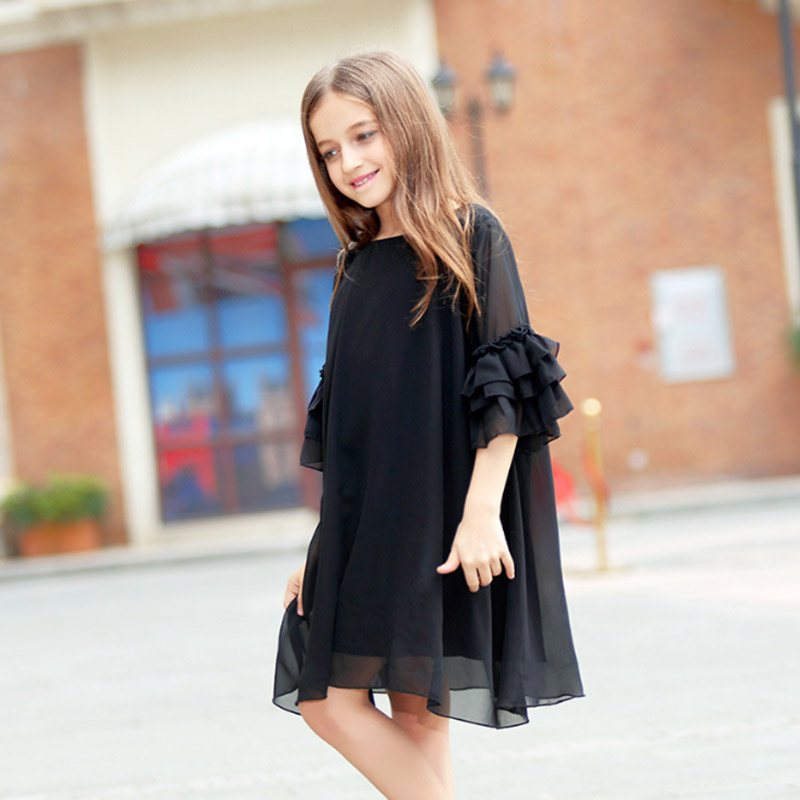 Kids Girls Dress Summer Black Short-sleeve Flare Sleeve Chiffon Big Girls Dresses 6 8 10 12 14 16 year Teens Children Girl Dress flare sleeve cut out bowknot mini dress