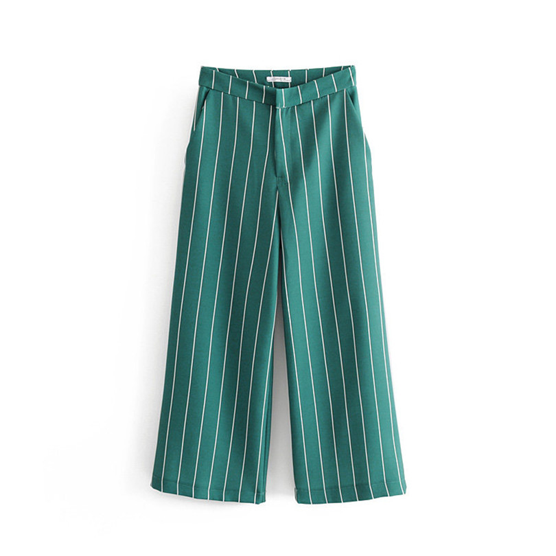 Women elegent striped green   wide     leg     pants   zipper fly ankle length   pant   long trousers mujer