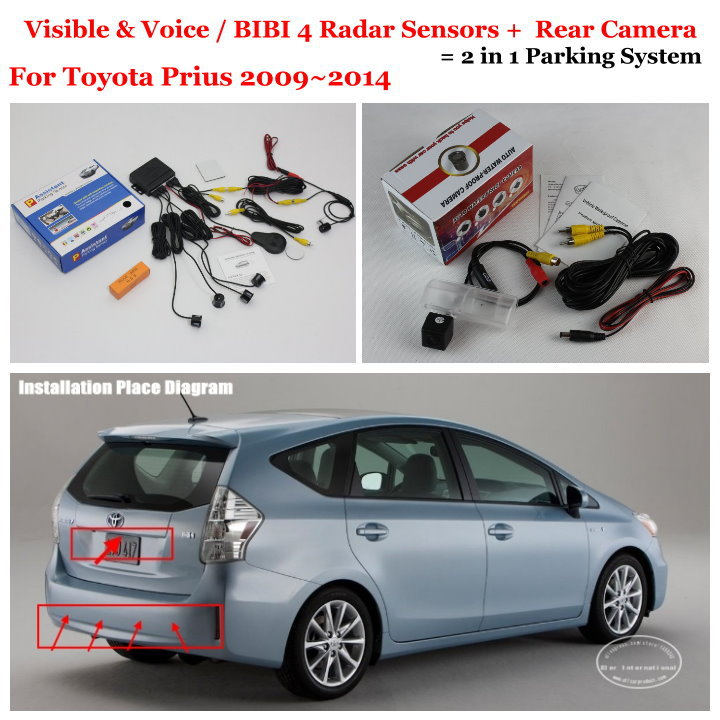 Liislee For Toyota Prius 2009~2014 - Car Parking Sensors + Rear View Back Up Camera = 2 in 1 / BIBI Alarm Parking System цены