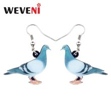 WEVENI Acrylic Anime Xanh Chim Bồ Câu Chim Bồ Câu Chim Bông Tai Big Dài dangle earrings Drop Thời Trang Animal Trang Sức Cho Nữ Gái Teens Kids quà tặng(China)