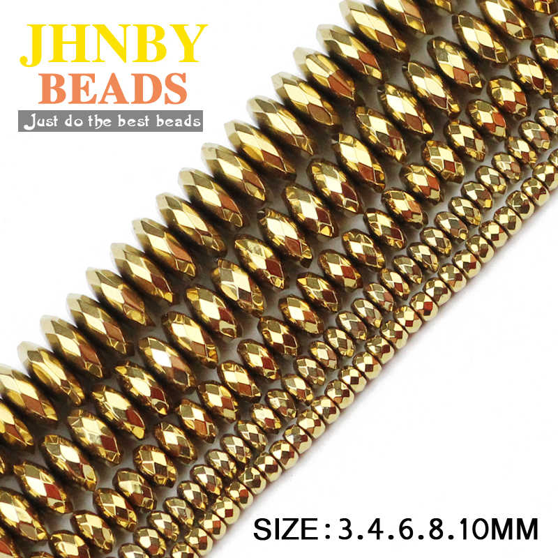 JHNBY Faceted Flat Round Hematite ball 3/4/6/8/10mm Natural Stone ore Gold 7 colors Loose beads for Jewelry bracelets Making DIY
