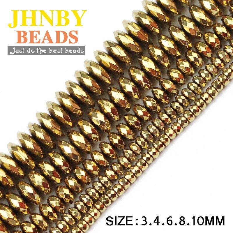 JHNBY Faceted düz yuvarlak hematit topu 3/4/6/8/10mm doğal taş cevher altın 7 renk dağınık boncuklar takı bilezikler için DIY