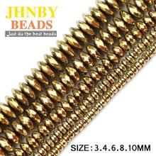 dcfb8d674023 Bola de hematita redonda facetada JHNBY 3 4 6 8 10mm Piedra Natural oro 7 colores  cuentas sueltas para hacer pulseras de joyería.