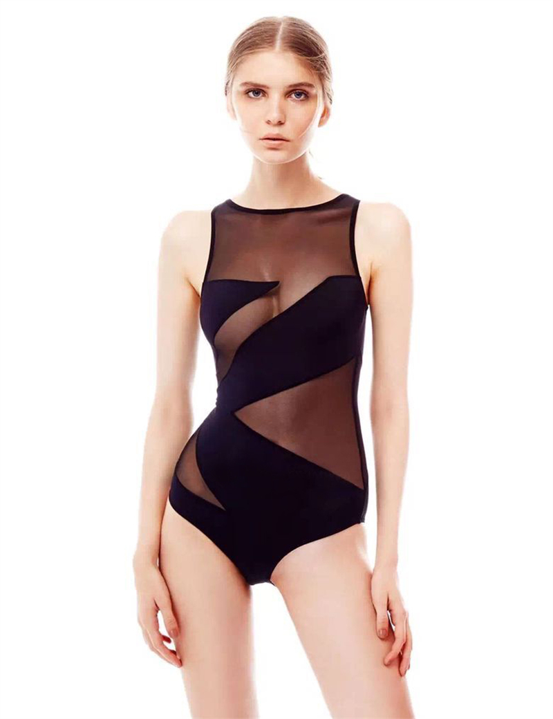 73a7f826e3 Women s Mesh Swimsuit One Piece Transparent Swimwear S 3XL Plus Size  Bathing Suit Monokini Trikini Ladies Female High Quality-in Body Suits from  Sports ...