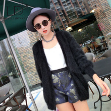 LOVELYDONKEY mink cashmere sweater ladies cashmere cardigan knitted pure mink jacket lengthy fur coat Personalized free delivery M19