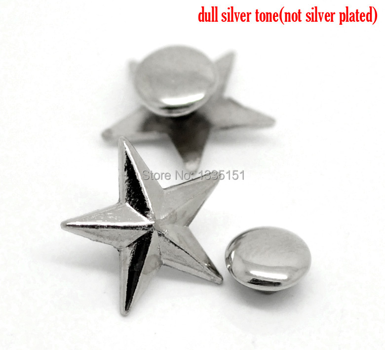Free shipping -50 Sets Silver Tone Star Spike Rivet Studs Spots 14mmx13mm 7mmBag Leather Clothes J1280