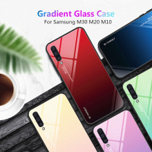 For Samsung Galaxy M20 M10 M30 Case Gradient Tempered Glass Soft Silicone Frame Hard glass Back Cover M 20