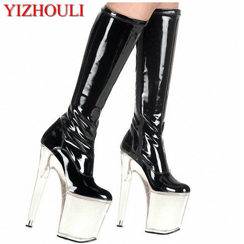 2018new style 20 cm high heels, leather and knee-high fashion sexy boots, thick waterproof platform style crystal boots fashion style