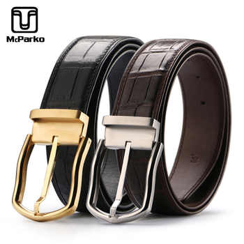 McParko mens belts luxury Genuine crocodile leather belt male black waist strap men belts leather with buckle stainless steel - DISCOUNT ITEM  30 OFF Apparel Accessories