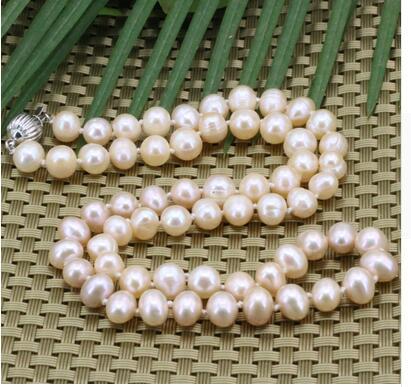 Women jewelry choker chocker maxi collier natural pearl orange 8 9mm choker beads chain necklace for women in Chain Necklaces from Jewelry Accessories