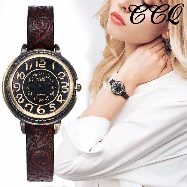נשים בציר עור אמיתי צמיד שעונים יוקרה נקבה קוורץ שעון CCQ מותג שעון Dropshipping