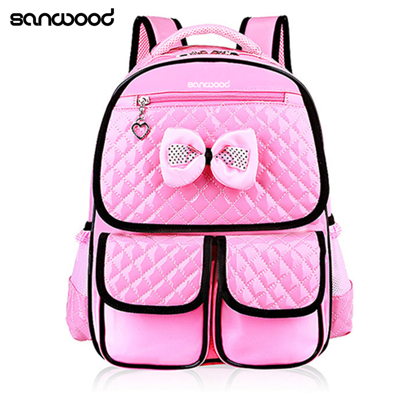 Hot New Kid Girls Princess Backpack Cute Bowknot Faux Leather Book Storage School Bag ...