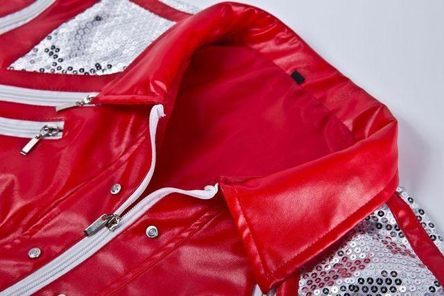 HOT Punk Red Zipper Michael Jackson Jackets MJ Beat It Coats Tailor Mens Sequined Jacket Outwear Imitation 2