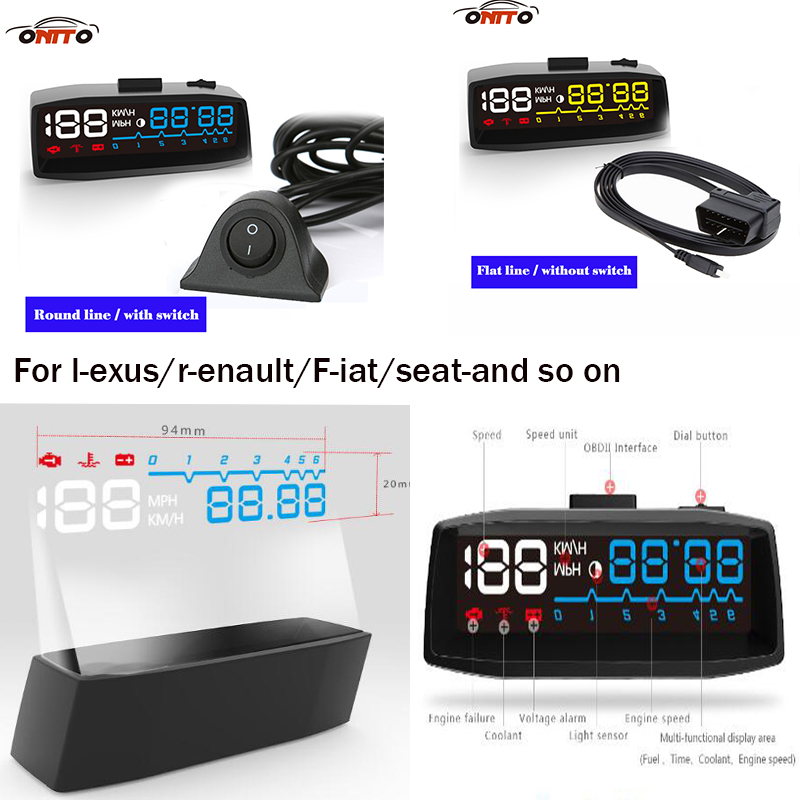 1pcs/lot 4F car head-up display HUD OBD2 Auto Head-up display lamps for lexus renault chevrolet buick suzuki fiat and so on universal 3 5 car hud a3 head up display with obd2 interface