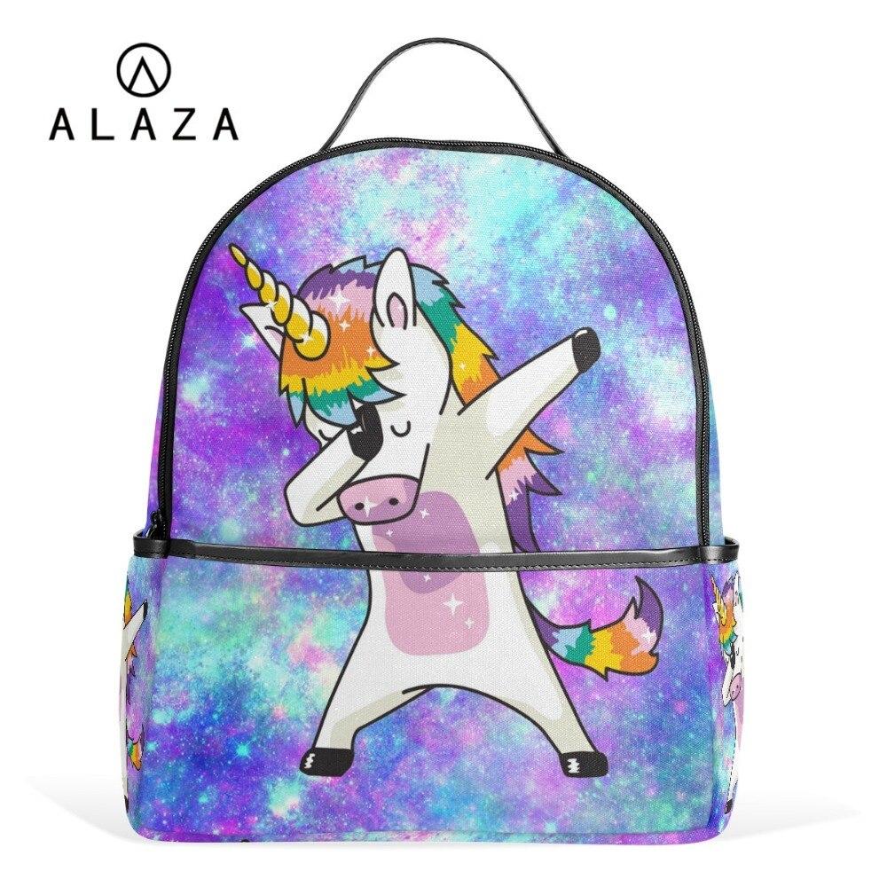 ALAZA offre spéciale licorne étudiant sac à dos filles coloré sac à dos école pour femmes enfants pochette d'ordinateur cadeau d'anniversaire sangles réglables