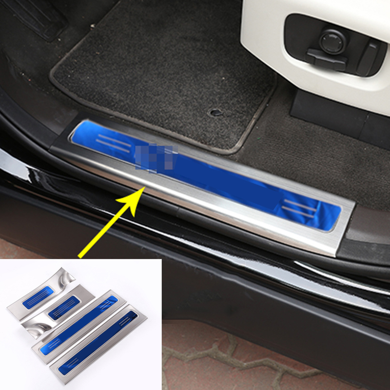 304 Stainless Inside Door Sill Scuff Threshold Protector Plate Cover Trim For Land Rover Discovery 5 LR5 2017 Set of 4pcs for land rover range rover sport stainless inside door sill scuff plate 2014 2017 4pcs silver black