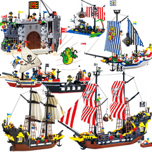 Pirate Ships Model Warship Boats Castle Caribbean Pirates Medieval Figures Building Blocks Kid Toys For Children dhl fit for 10193 lepin 16011 1601pcs castle series the medieval manor castle model building kits set blocks bricks toys gift