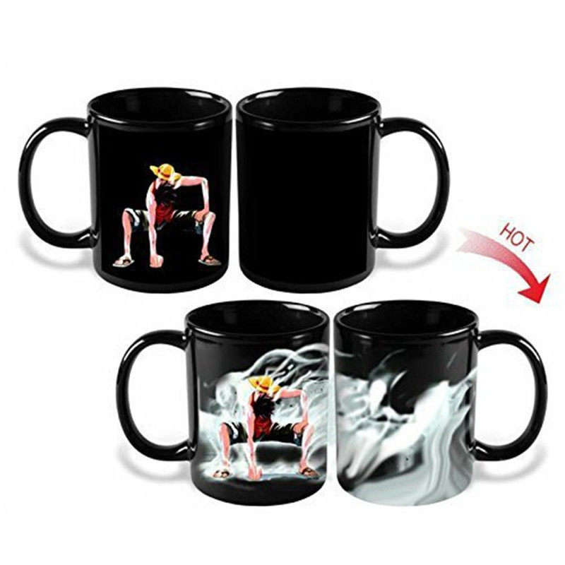 Anime Coffee Mug One Piece Caneca Color Change Cup Luffy Zoro Ace Magic Funny Ceramic Water Milk Copo Drinkware Beer Creative in Mugs from Home Garden