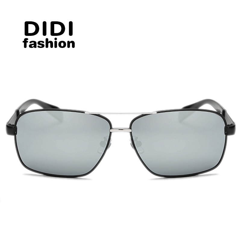 didi wide square men polarized sunglasses metal frame hipster glasses italian eyewear luxury brands military coating