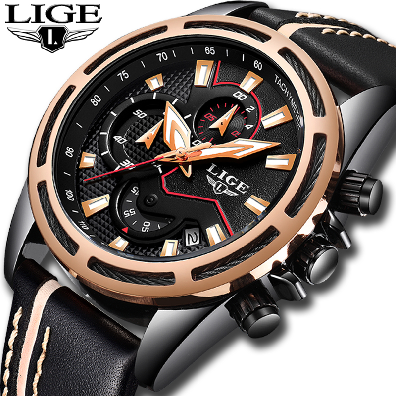 LIGE Top Brand Luxury Waterproof Fashion Watch Men Casual Sports Quartz Watch Men's Leather Military Watches Relogio Masculino winner skeleton mechanical watch luxury men black waterproof fashion casual military brand sports watches relogios masculino