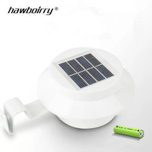 цена на Hot Sale waterproof Manufacturer Outdoor Solar Powered Wall Lamp 3 LED White/Warm White Light Fence Gutter Garden Yard roof