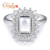 5 5x7 5mm Emerald 14k White Gold Full Cut Diamond Semi Mount Ring Wholesale Jewelry