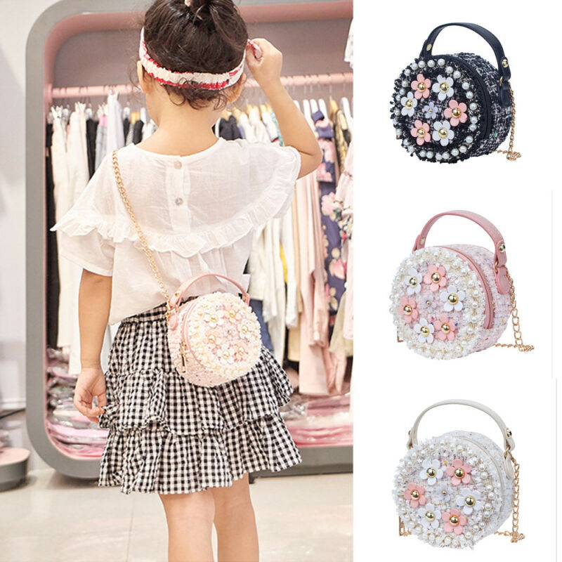 Flower Shoulder Bags Children PU Leather Messenger Bag Girls Crossbody Bag Kids Small Round Satchel Handbags For Children Gift