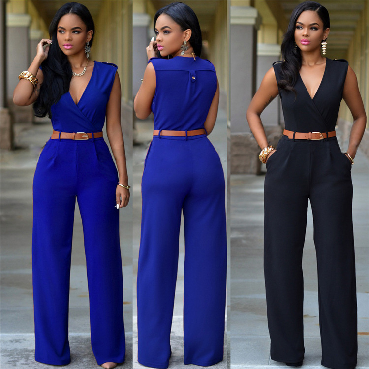 Women   Jumpsuit   V Neck Sleeveless Wide Leg Pockets High Waist Casual Summer Female Fashion with Waist Band Elegant Ladies Clothes